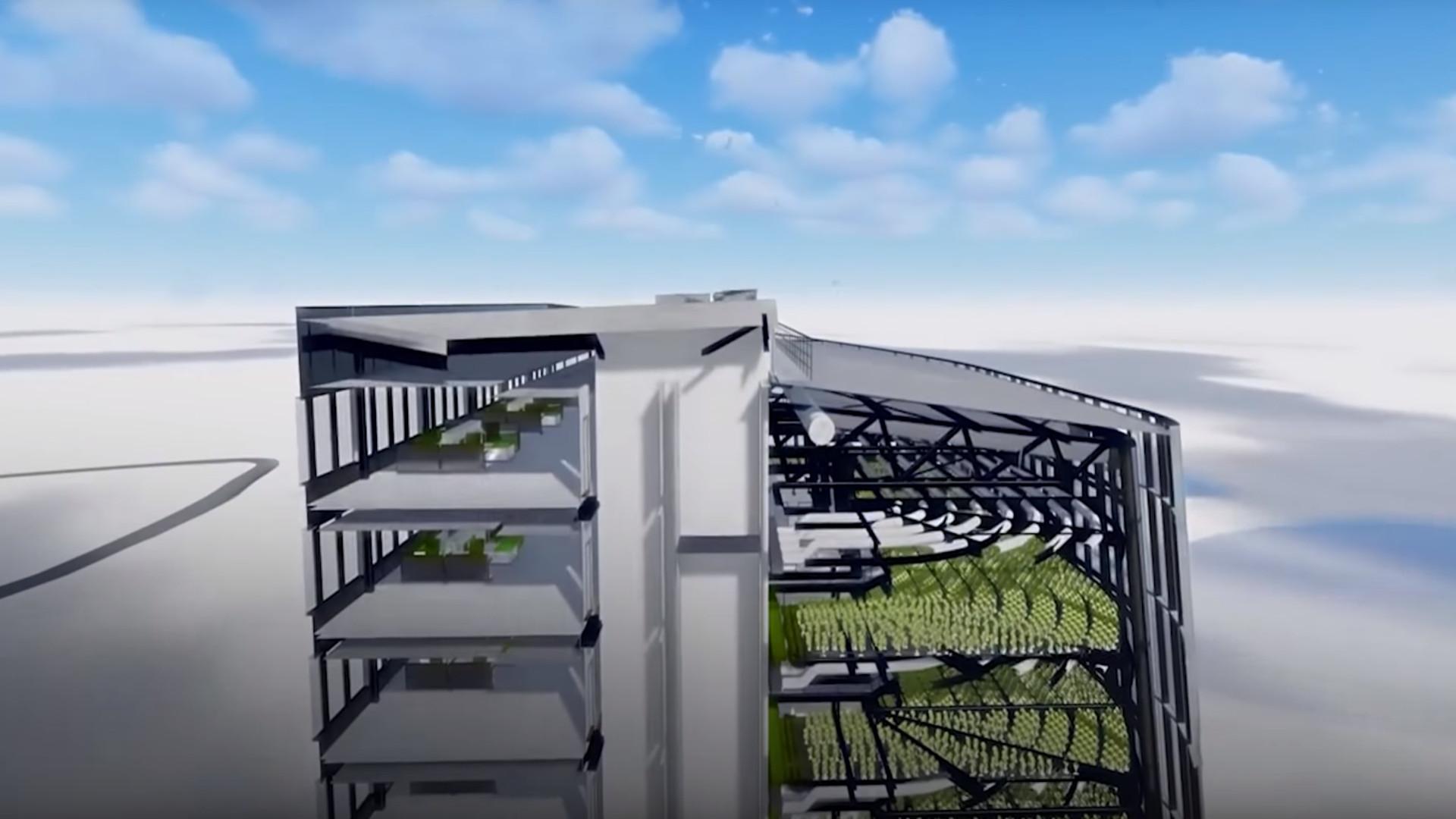 Los edificios tendrán campos de cultivo para alimentar a las ciudades